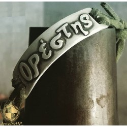 Bracelet handmade with klakhi strap with name Orestis by silver