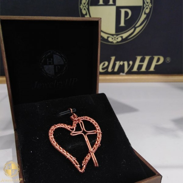 Handmade heart with cross pendant by copper