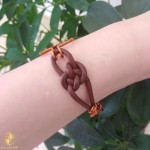 Handmade women's bracelet by copper with leather strap