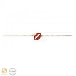 Bracelet with lips with Swarovski crystals