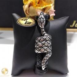 Leather male bracelet with snake