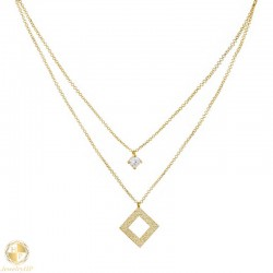 Gold double necklace rhombus with zircon