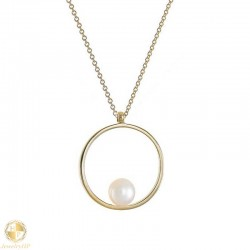 Gold women necklace circle with pearl