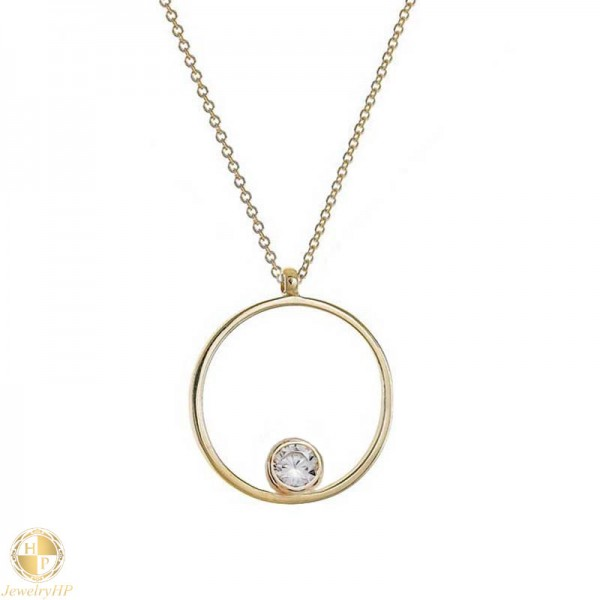 Gold women necklace circle with zircon