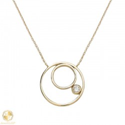 Gold necklace double circle with zircon