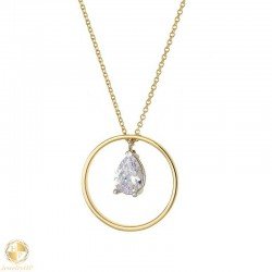 Woman gold necklace circle with zircon