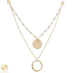 Gold double necklace with pearls