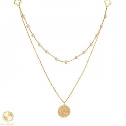 Gold double necklace ICXCNIKA with pearls