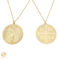 Gold necklace amulet ICXCNIKA