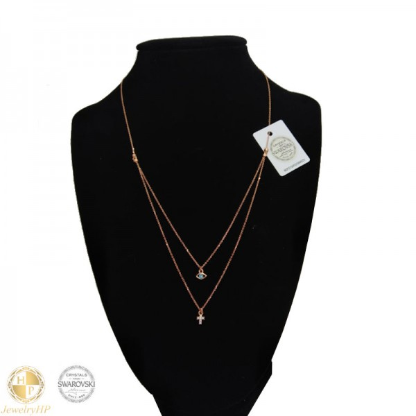 Double necklace with Swarovski crystals