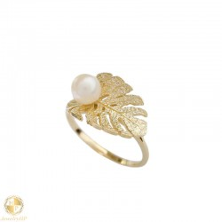 Gold ring leave with pearl