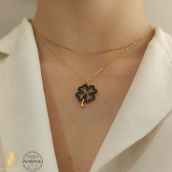 Lucky clover necklace with Swarovski crystals