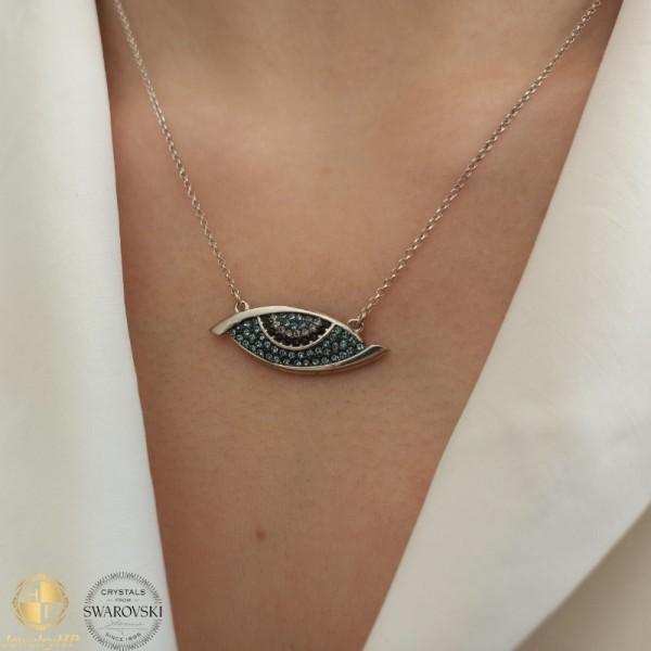 Necklace evil eye with Swarovski crystals