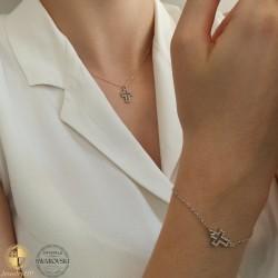Jewelry set cross with Swarovski crystals