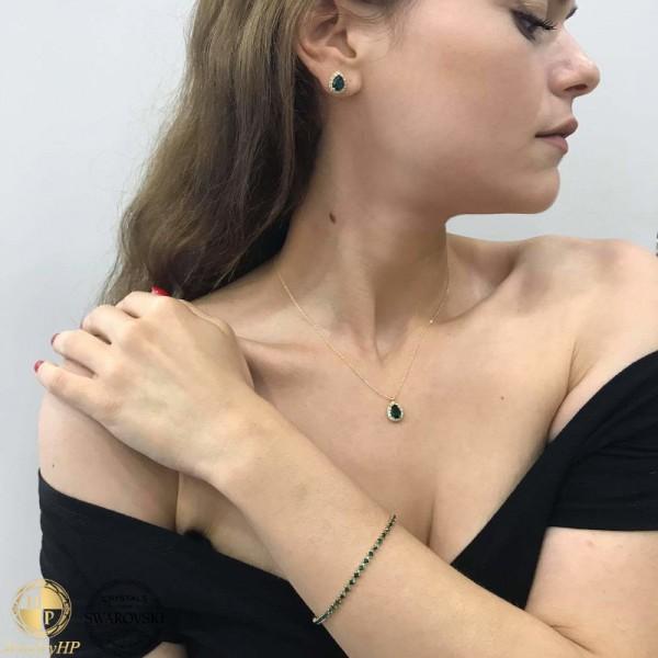Jewelry set teardop with Swarovski crystals