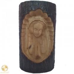 Handmade carved wood Mother of God praying