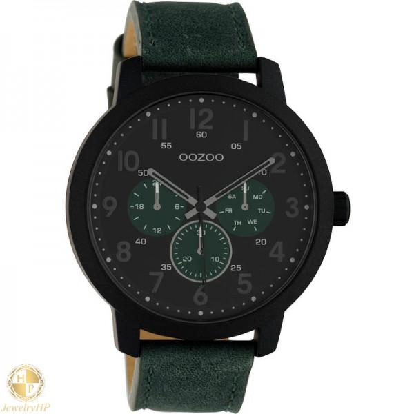 OOZOO men watch with green leather strap W4107C10508
