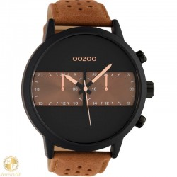 OOZOO man watch with brown leather strap W4107C10518