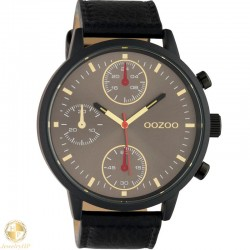 OOZOO man watch with black leather strap W4107C10532