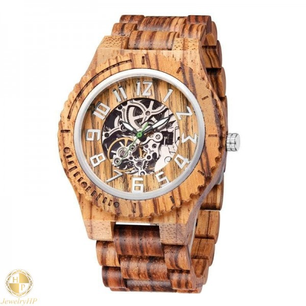 Mechanical wooden watch